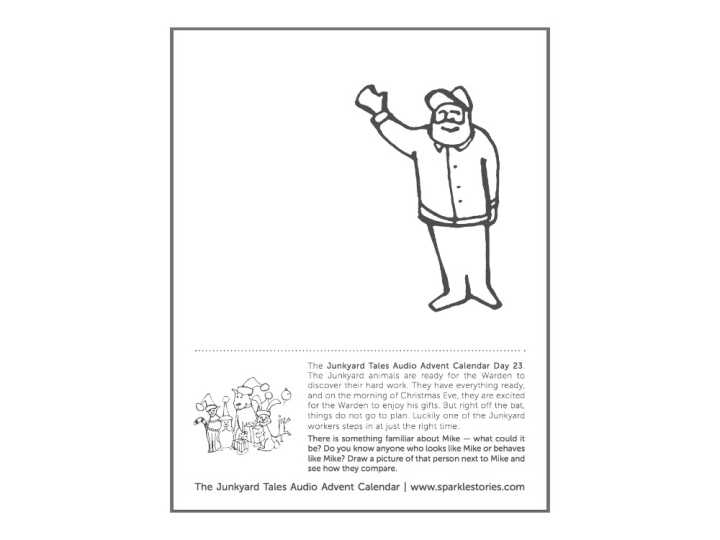 Junkyard Tales Audio Advent Calendar Printable Coloring Page: Day 23- Mike Steps In