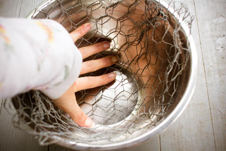 using the bowl to mold the chicken wire