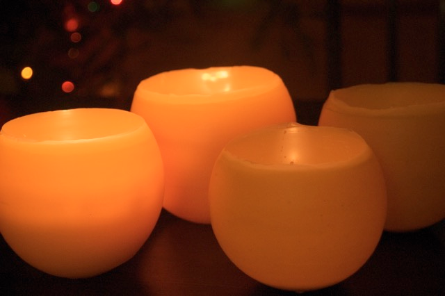 nature school project: candle luminaries