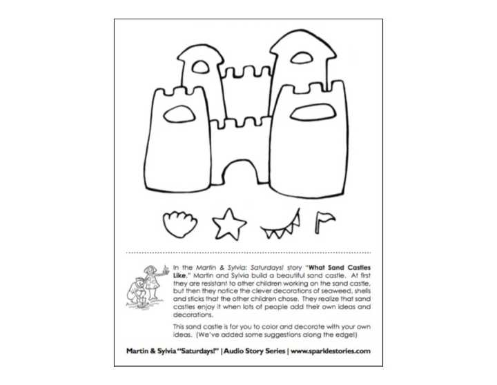 Martin & Sylvia's: Saturdays! Printable Project Page: What Sand Castles Like