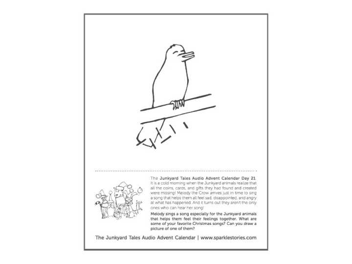 Junkyard Tales Audio Advent Calendar Printable Coloring Page: Day 21- Melody Crow