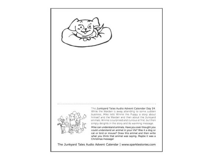 Junkyard Tales Audio Advent Calendar Printable Coloring Page: Day 24 Winnie