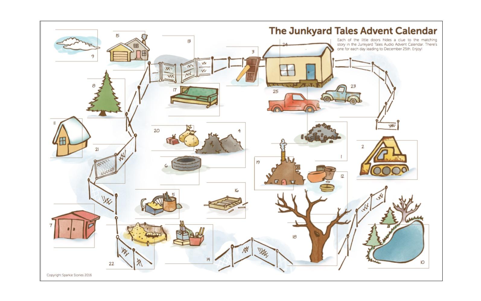 photograph regarding Printable Advent Calendar identified as Guidebook: the Junkyard Stories Printable Introduction Calendar