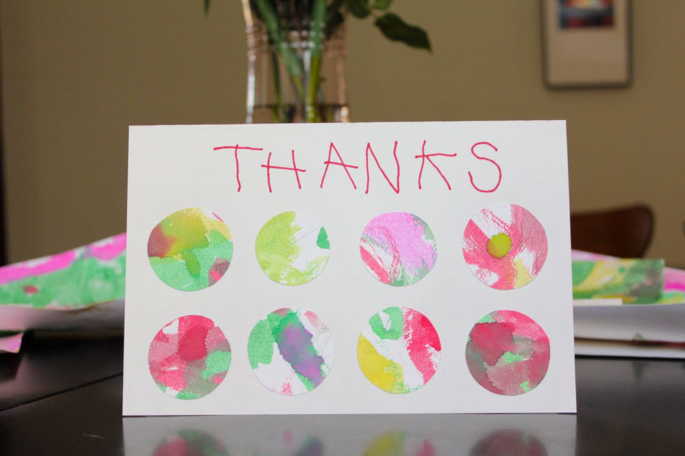 watercolor circles DIY thank you note