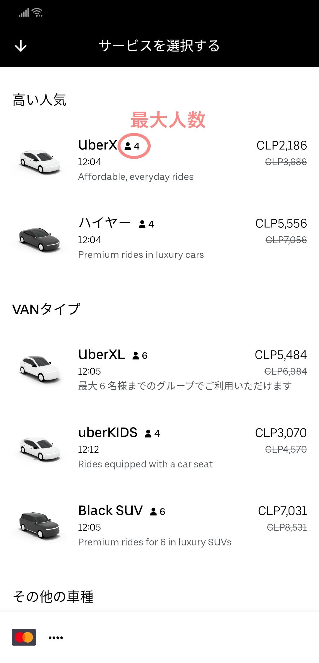 Uber車の種類