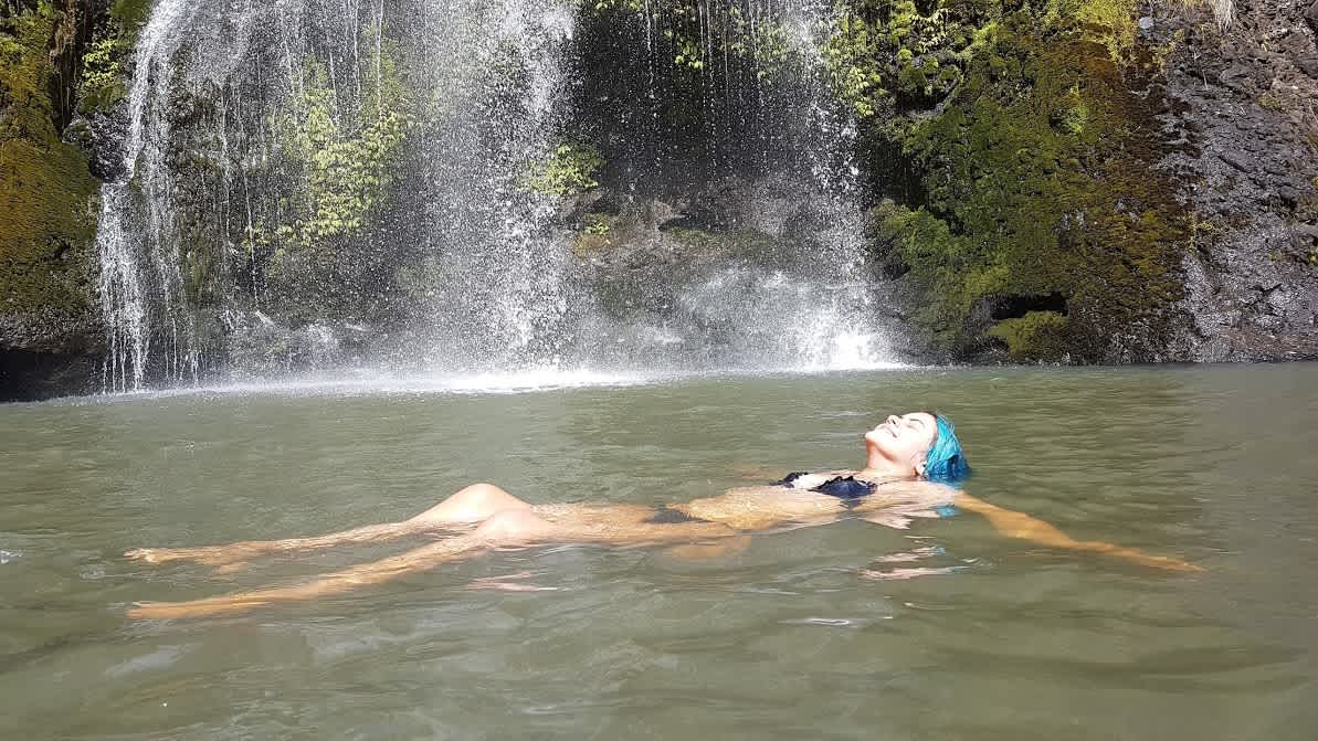 Enjoying the hidden places at Kitekite falls