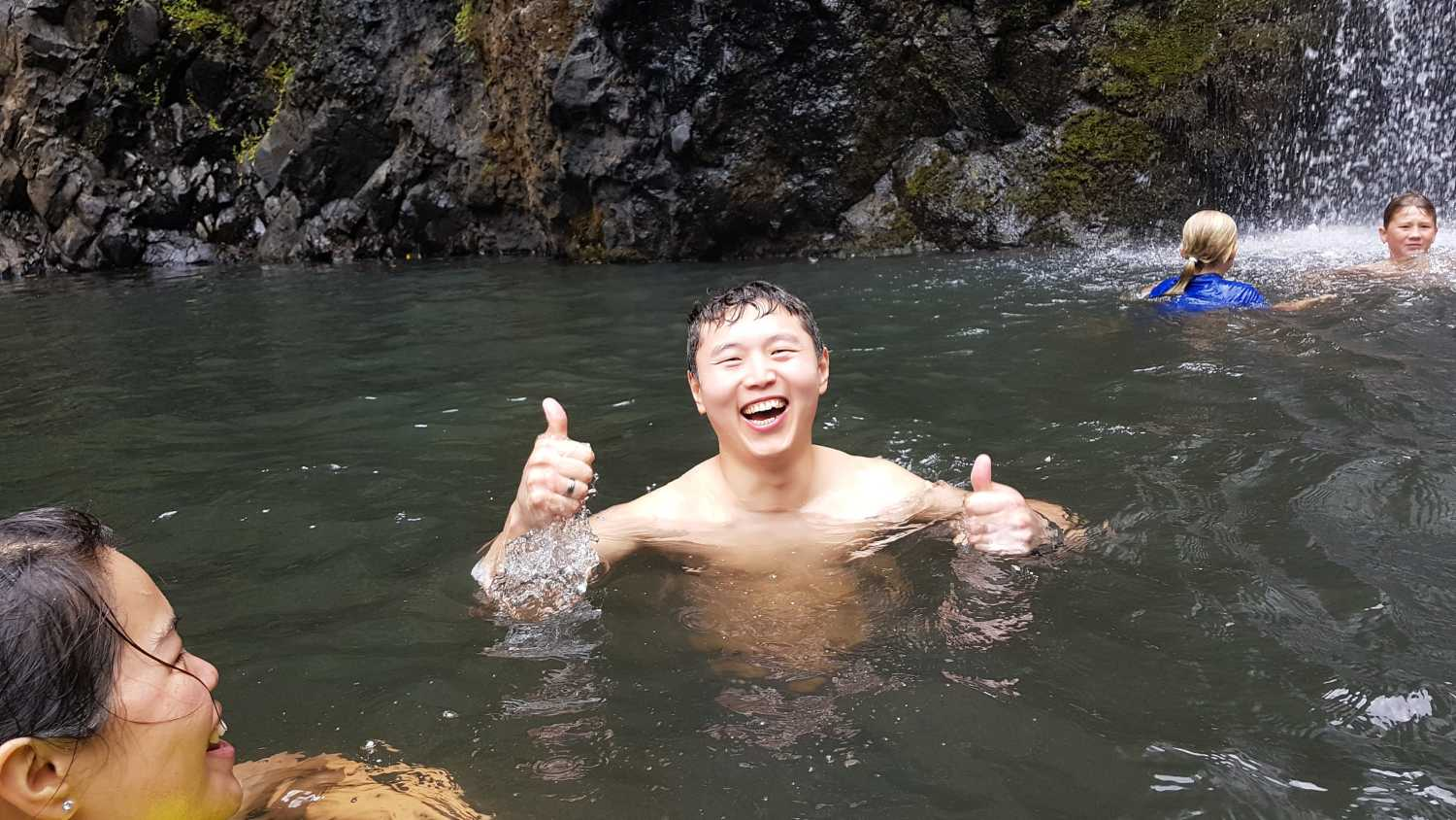 Happy times at Kitekite Falls