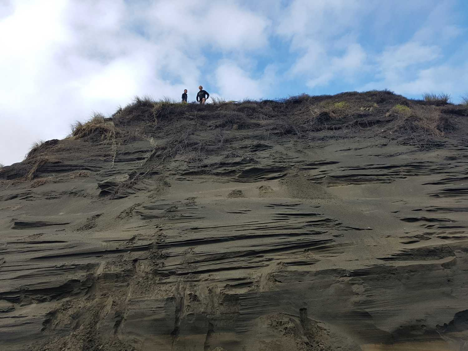 Group explores the sand dunes at Whatipu