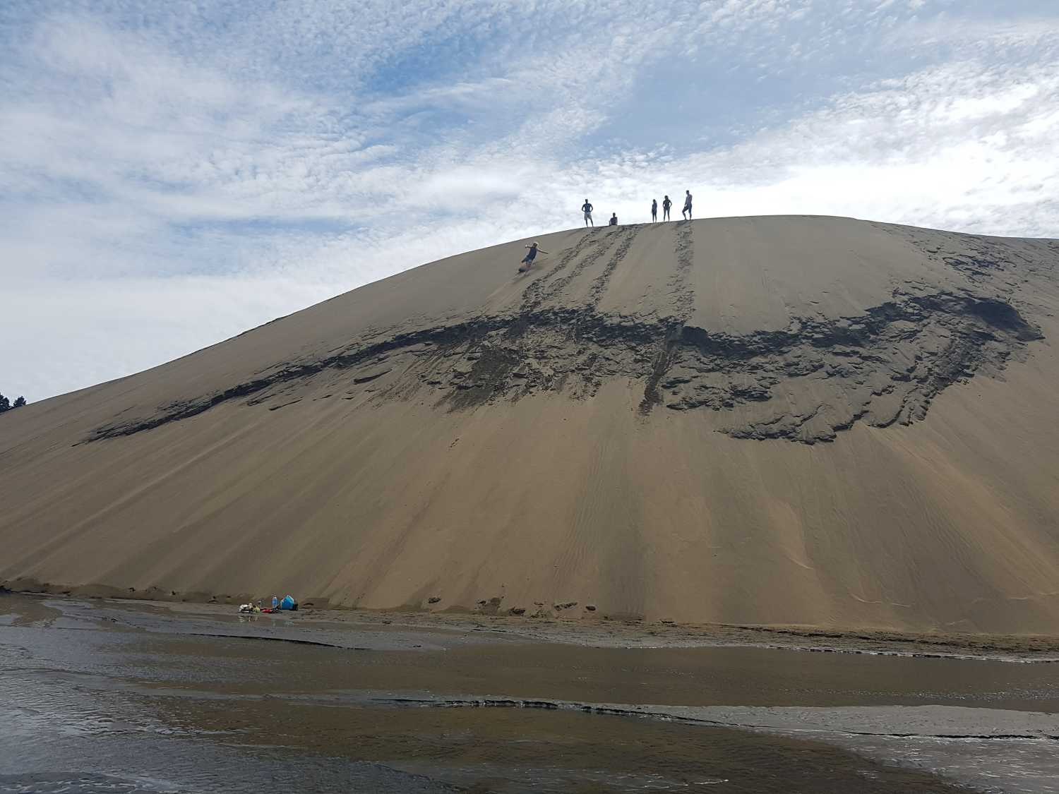 Group enjoys the view from the top of the Bethells Dunes