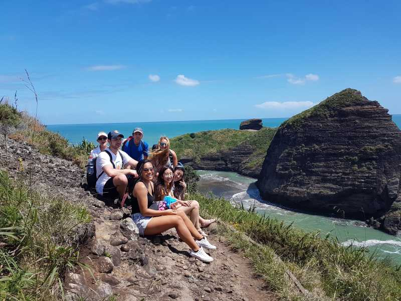 Enjoying the amazing view from the Piha cliff tops