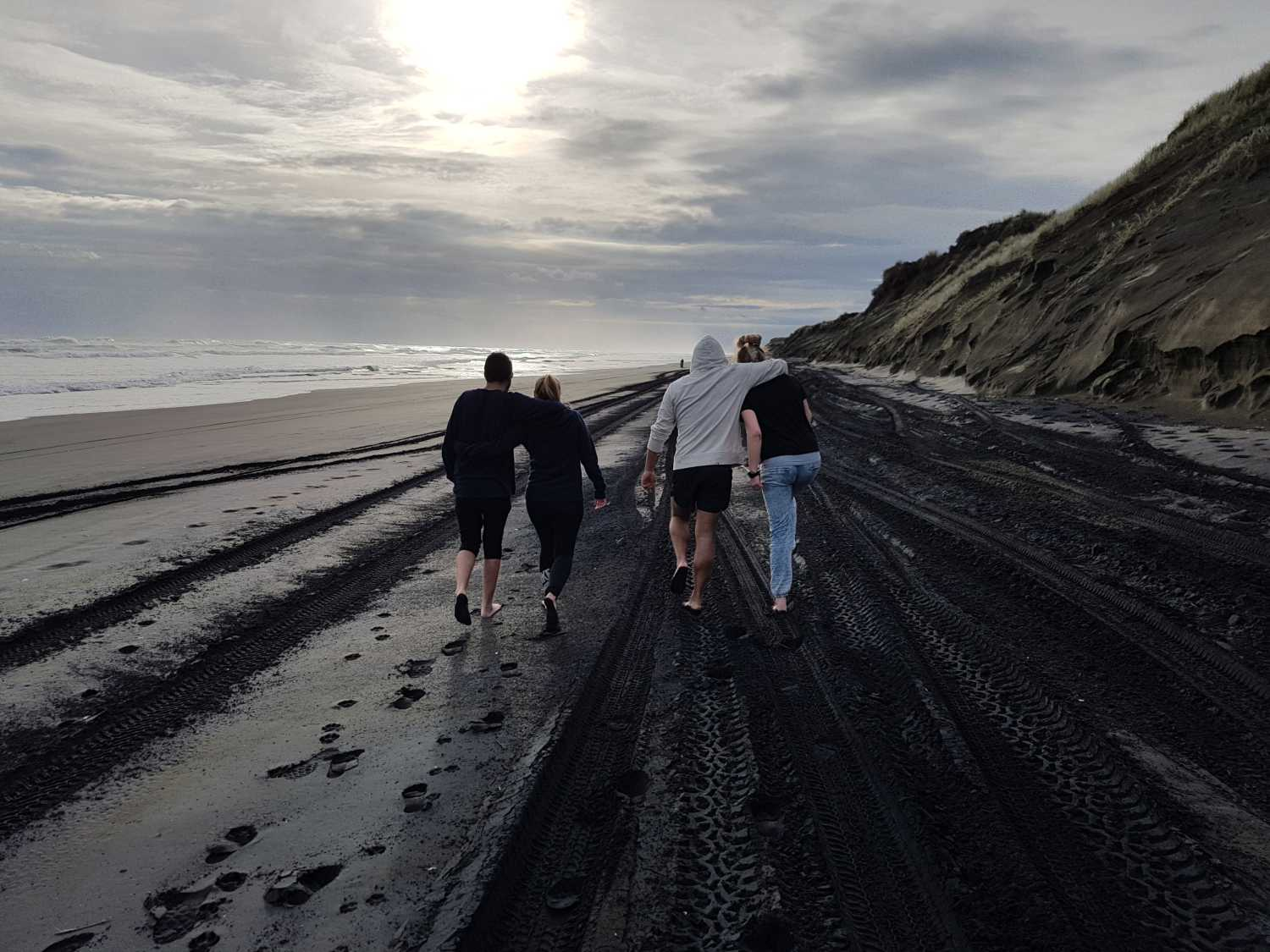 Tour group strolling along Muriwai's black sand