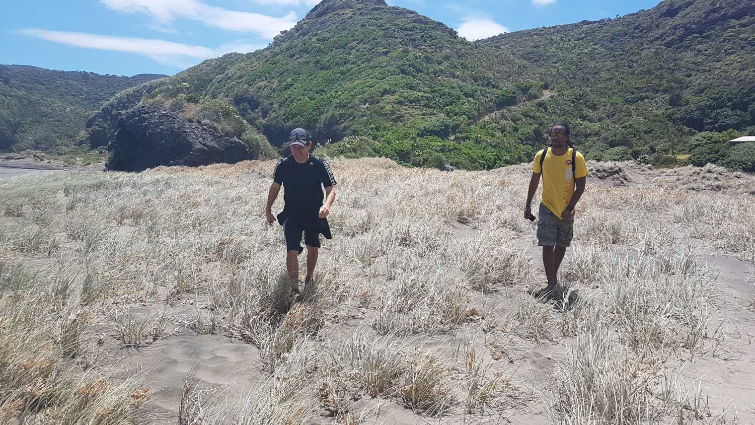 Group walks the dunes at Anawhata