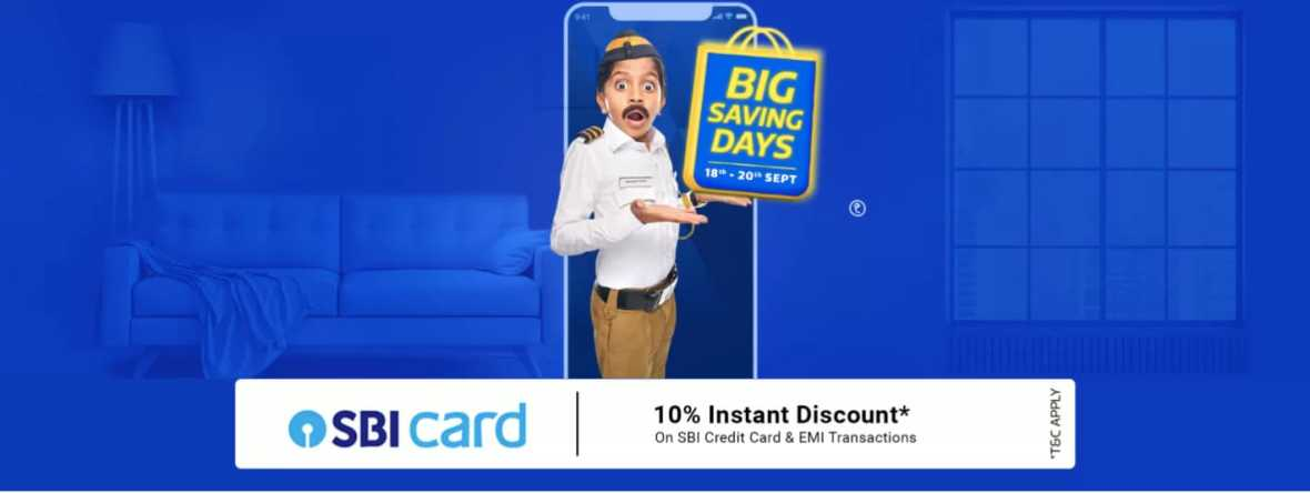 Flipkart Big saving days( 18-20 Sep ) - up to 90% off + 10 % instant discount on SBI Credit cards