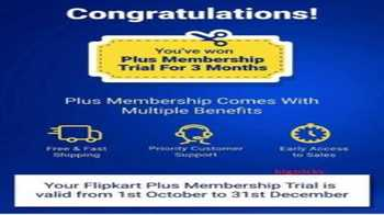 Flipkart Plus Offer: Free 3 Months Flipkart Plus Membership [Flipkart App Only]
