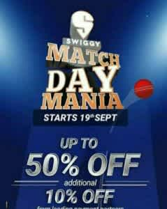 Swiggy Match Day Mania 2020: Free Swiggy Money, Win Iphone and 50% Off + 20% off on Food orders