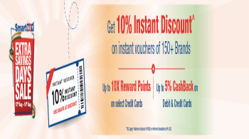 Amazon, Flipkart Gift cards: Get 10% instant discount upto 500 plus 10X rewards/5% cashback on instant vouchers using Smartbuy