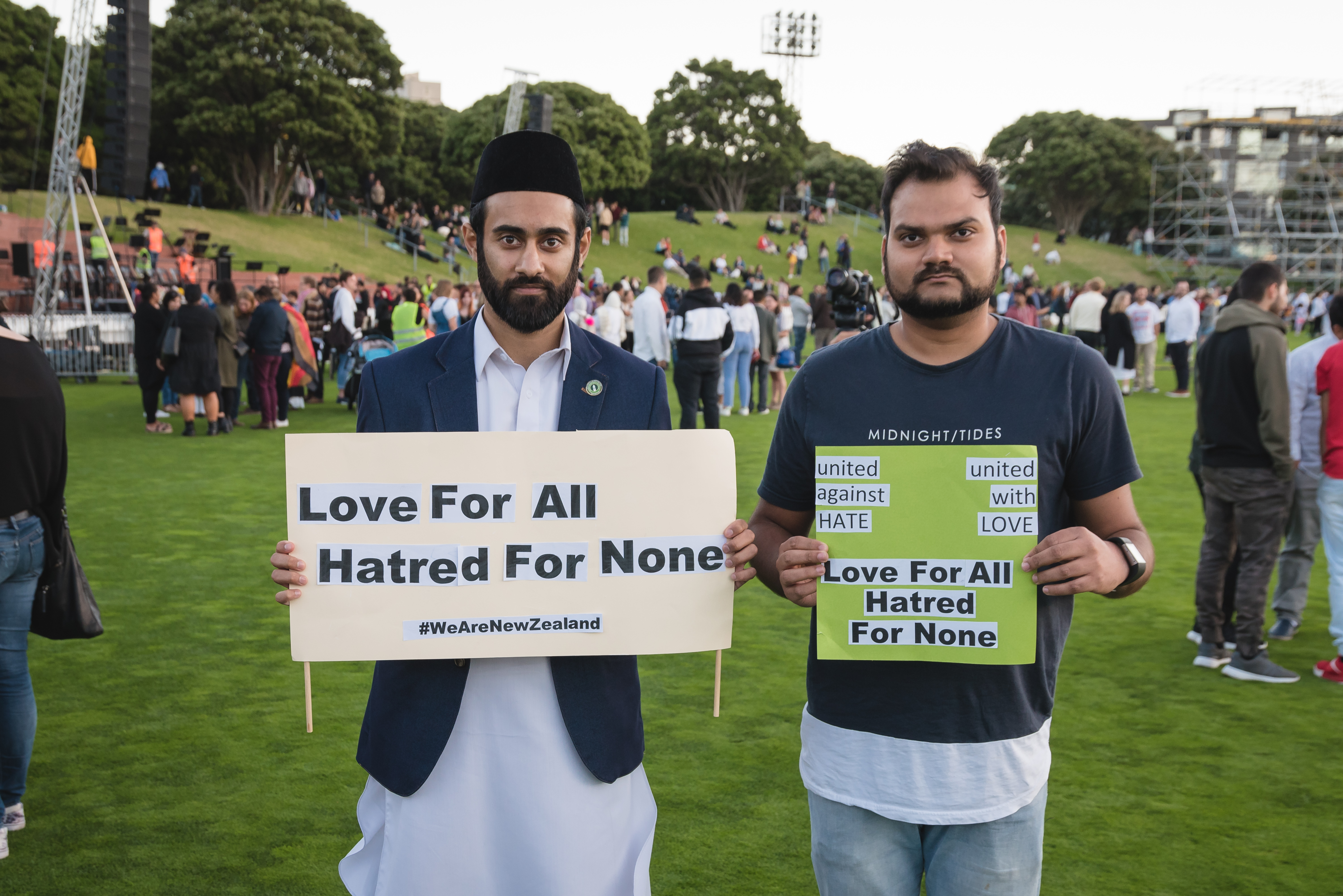 Wellington Vigil for Christchurch - two Muslim men with signs of love