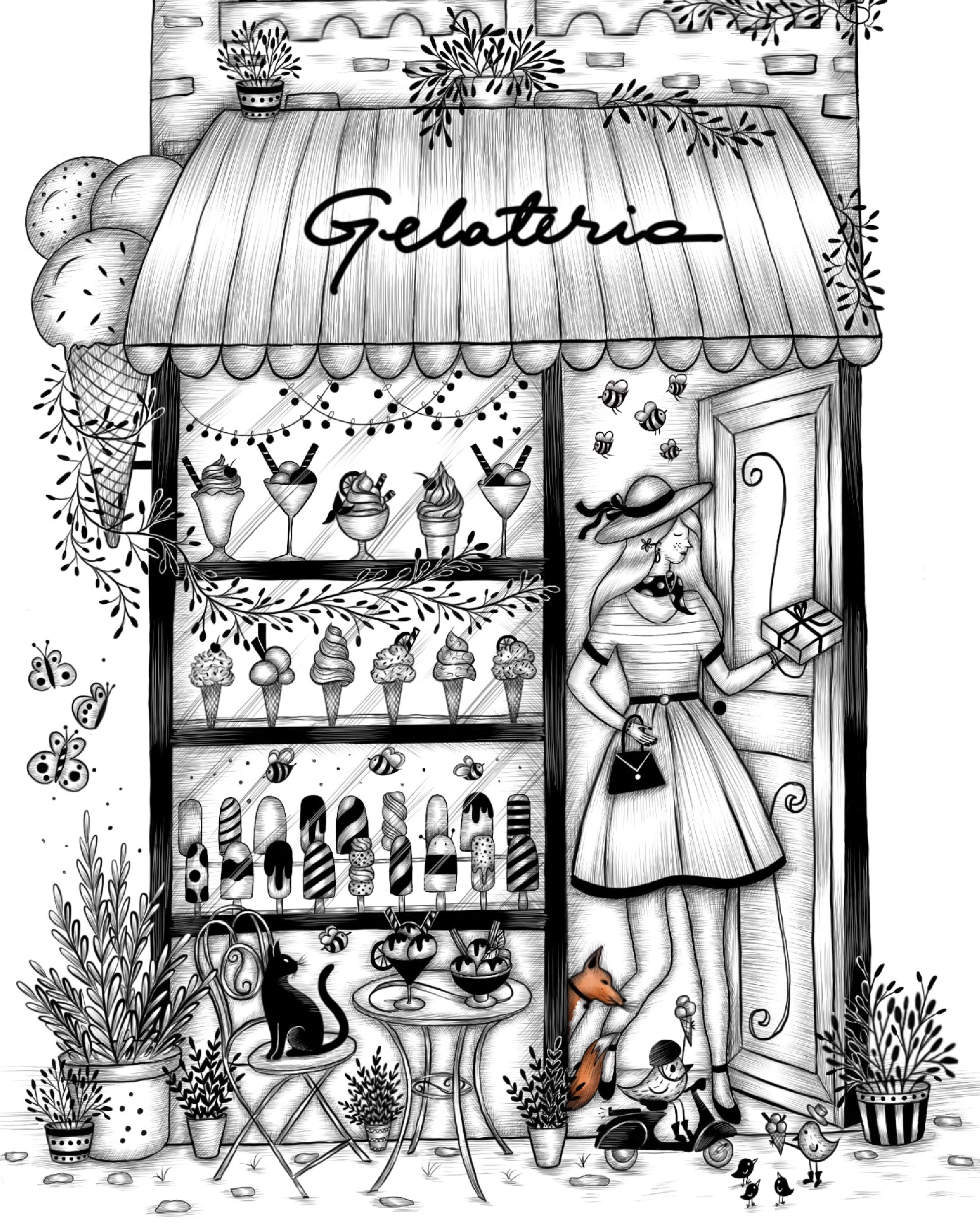 Go to detail page Gelateria black and white