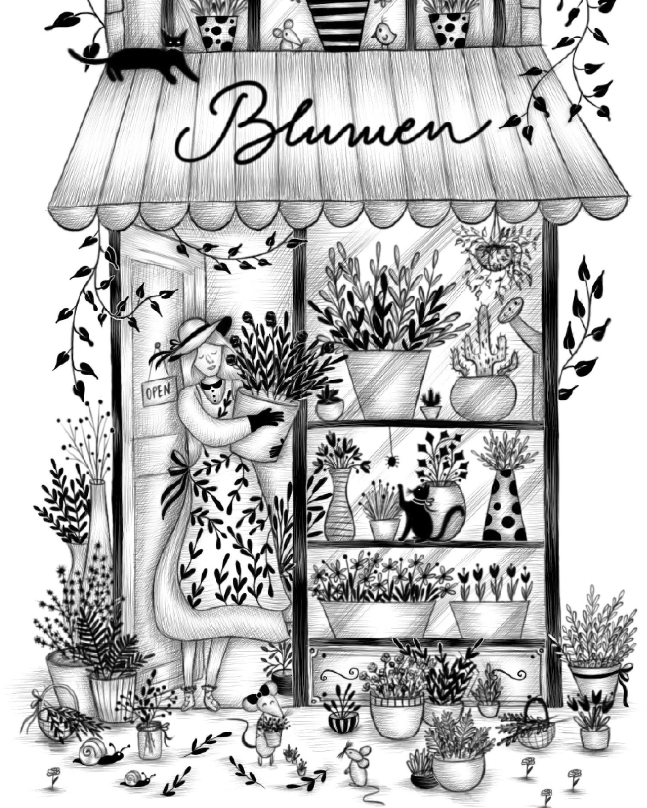 Go to detail page Blumen black and white