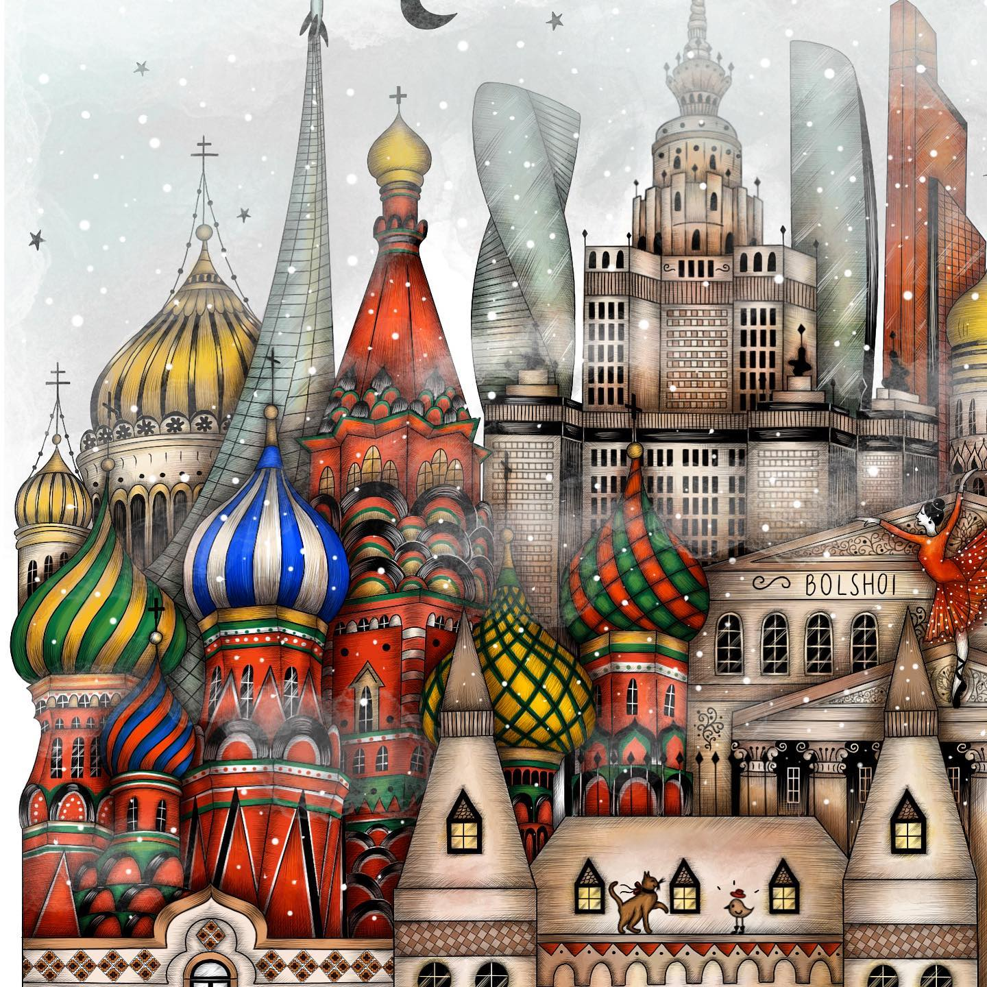 "Instagram post: Moscow sneak peek on a snowy day. ♥️❄️ Colorful churches, golden domes and foggy skyscrapers, standing still under the whistling wind...I am almost done with ""Midnight in Moscow"" and I wanted to share this detail of Saint Basil's Cathedral ✨ Hope you like it! I will post the full illustration tomorrow here and in my shop, so stay tuned. Happy Tuesday everyone! ⭐️🌈 • • • #madalinadraws #madalinatantareanu #moscowdrawing #midnightinmoscow #russia #russiaillustration #moscowillustration #postcardfrommoscow #stbasilscathedral #streetsofmoscow #art #artist #artwork #watercolor #ink #etsy #etsyartshop #etsyseller #idrawandtravel #procreate #ipadpro #russiancathedrals #poster #fineartprint #artistonetsy #illustratoroninstagram #madalinadrawscities #blackandwhite #coloringbook"
