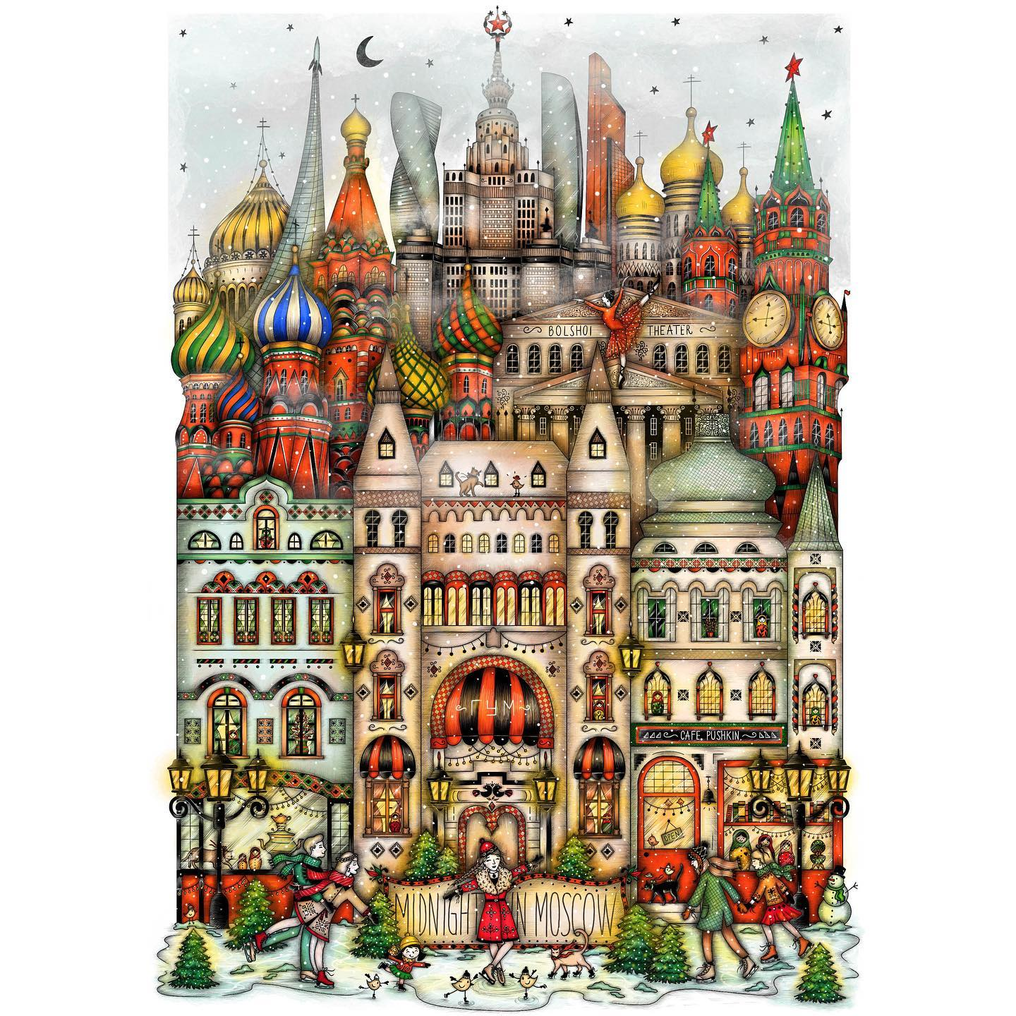 "Instagram post: Aaaand the 14th illustration of the series, ""Midnight in Moscow"" is now finished ♥️⭐️💚 Swipe left for details 🧡 Moscow's winter wonderland, with the colorful St. Basil's Cathedral, the Kremlin Towers, the majestic Lomonosov University and the Museum of Cosmonautics ❤️ In the front row there are the traditional Russian houses and the commercial center ""Gum"" with the joyful ice-skating rink, in the festive atmosphere of the holidays. 🌲♥️ Moscow is now up in my shop, link here @madalinadraws 🥳 Thank you all for your patience and your support! ♥️💚 • • • #madalinadraws #madalinatantareanu #moscowdrawing #moscowillustration #postcardfrommoscow #russiaart #russianillustration #matryoshka #stbasilscathedral #kremlin #gum #lomonosov #bolshoitheatre #art #artist #artwork #illustration #drawing #watercolor #ink #etsy #etsyartshop #artistonetsy #colorfulmoscow #coloring #museumofcosmonautics #illustratorinmoscow #artofmoscow"