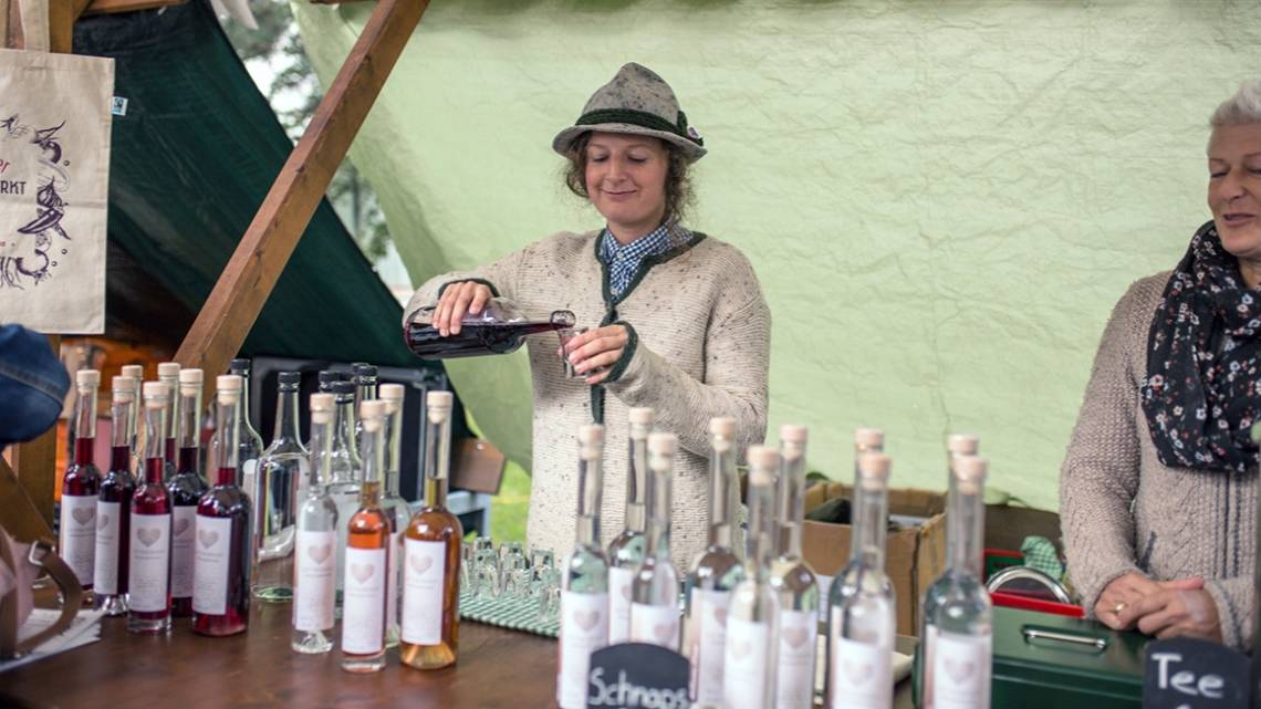 The homemade schnaps from the Meisterwurz is a fixed component of every farmers' market.