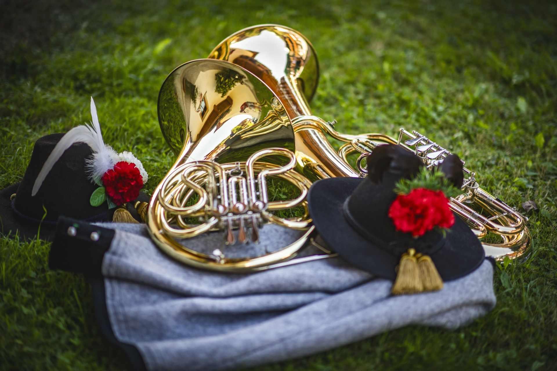 Blasmusikinstrumente in einer Wiese liegend
