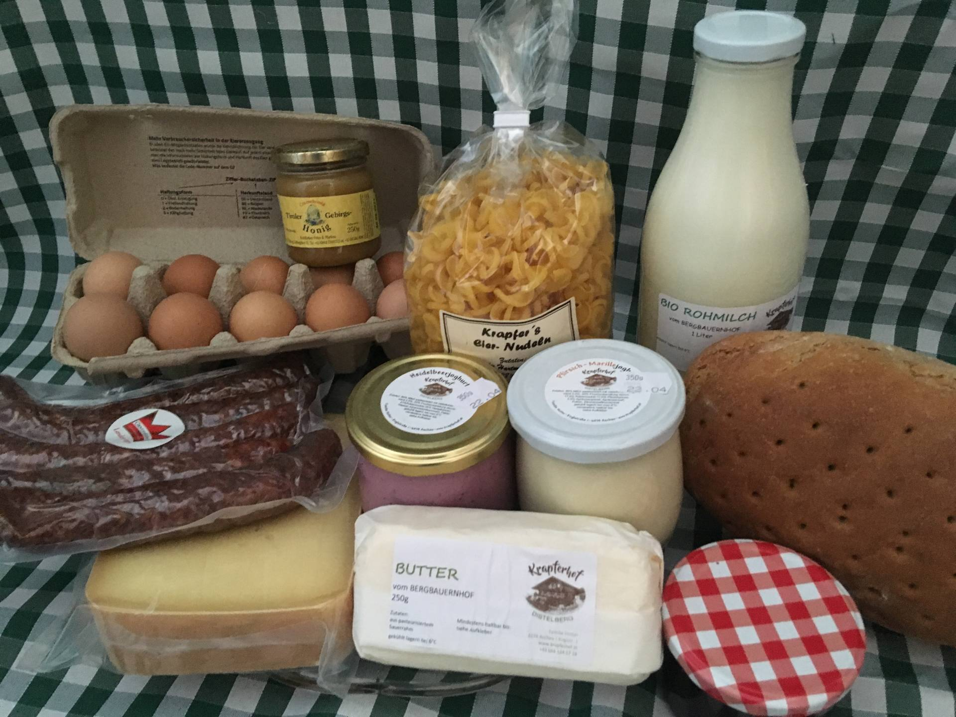Regional products at the farmers market in Mayrhofen.