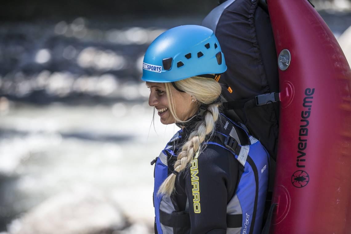 Woman at canyoning