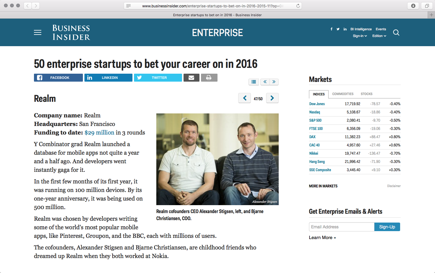 "Business Insider selects Realm as a startup to ""bet your career on in 2016."""