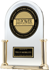 Trophy from J.D. Power - Highest Wireless Network Quality Performance in Ontario