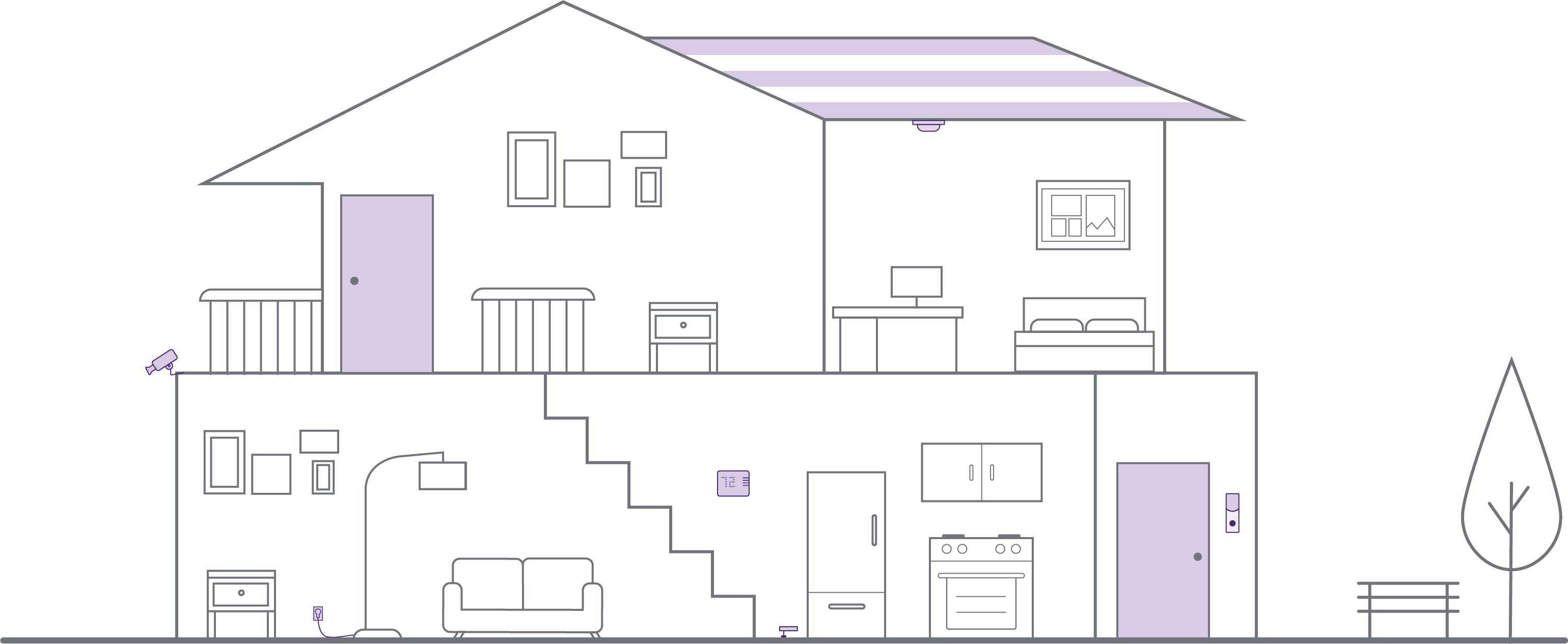 House blueprint drawing with smart home security devices
