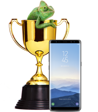 Chameleon sitting inside trophy beside the Samsung Galaxy S8
