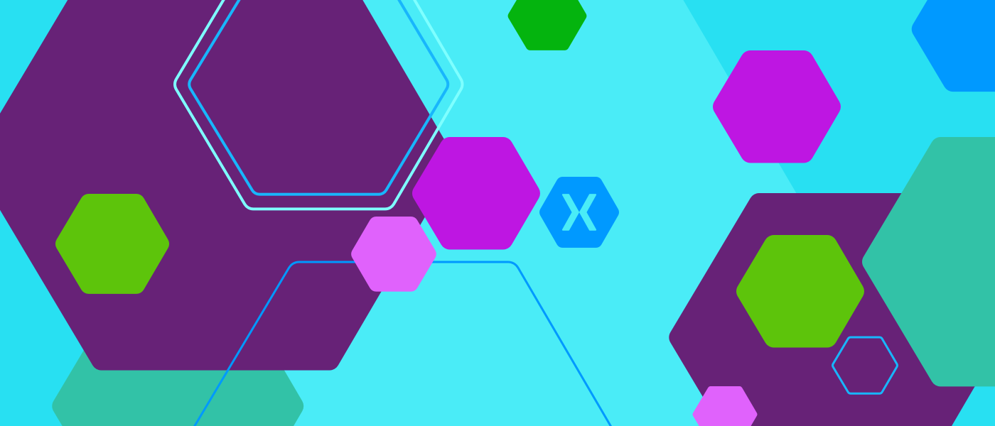 Colorful hexagons depicting Xamarin, a cross-platform tool