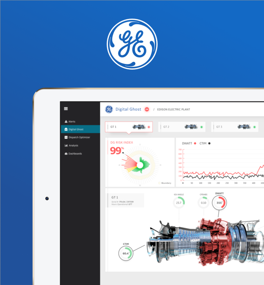 Screen shot from industrial IoT digital experience designed by WillowTree for GE