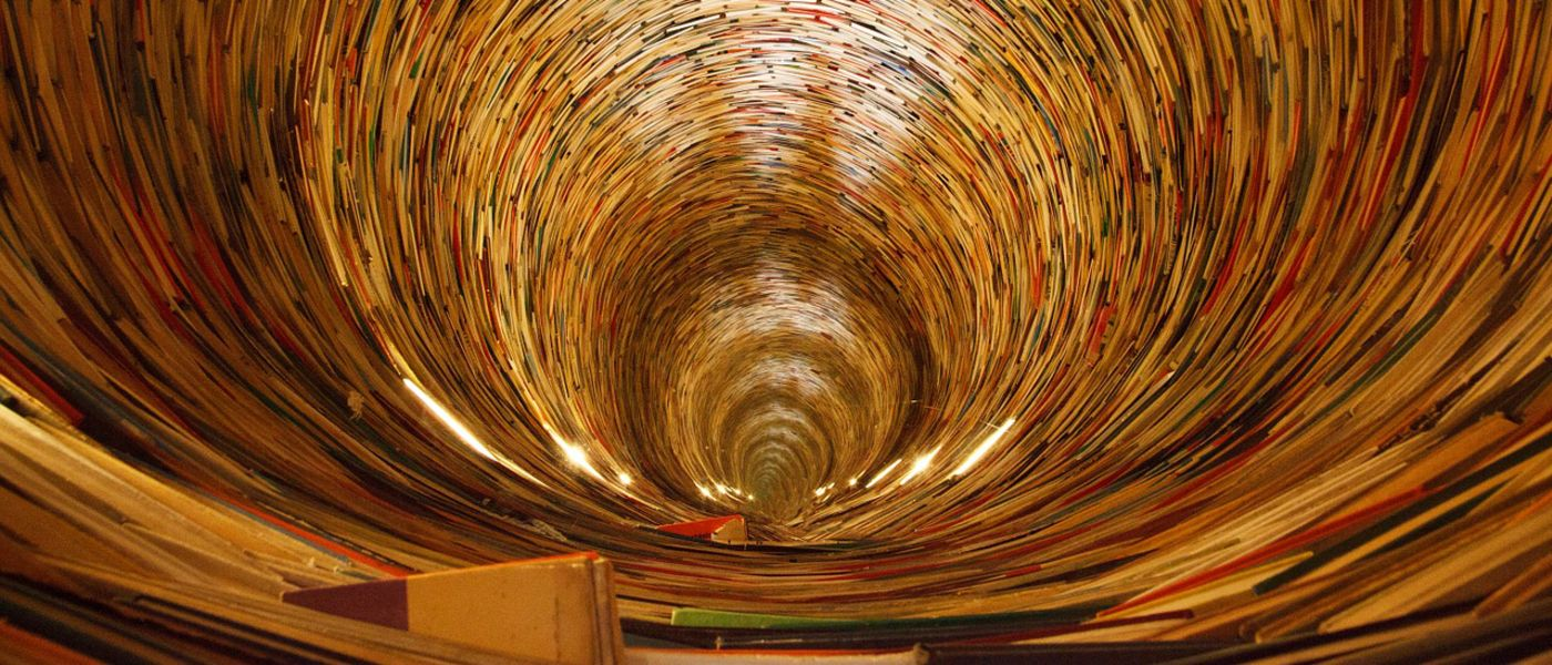 artistic spiral image of books