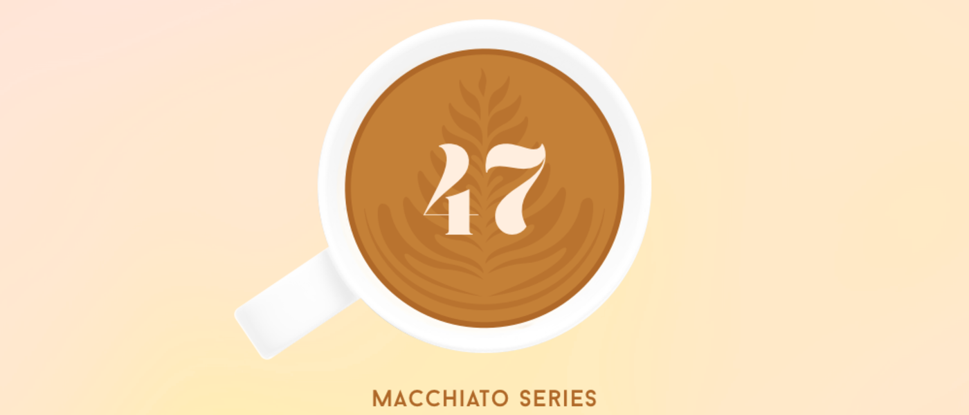 graphic design of mug filled with espresso and the number 47 in the espresso