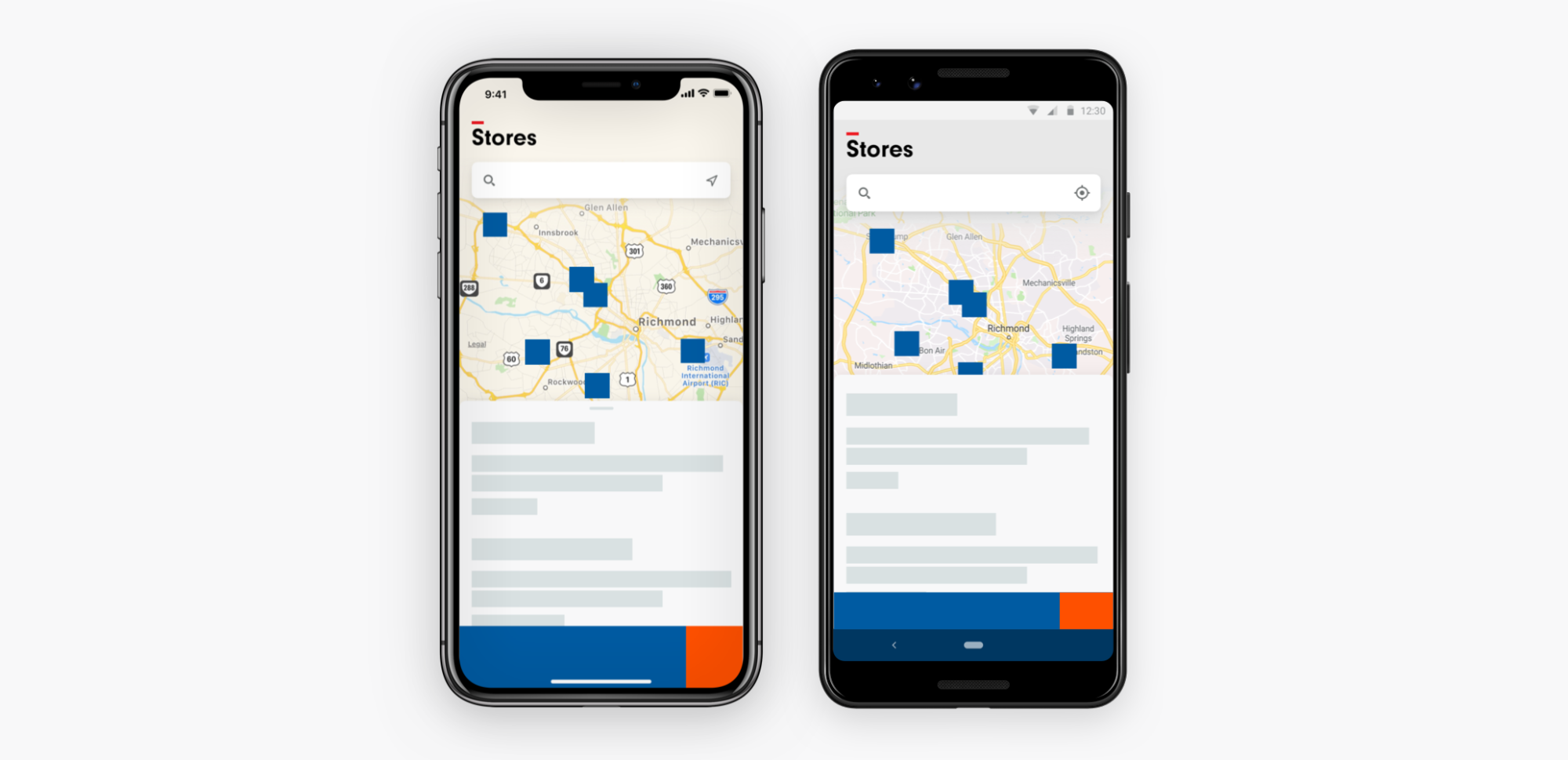 iOS and Android screen showing stores search