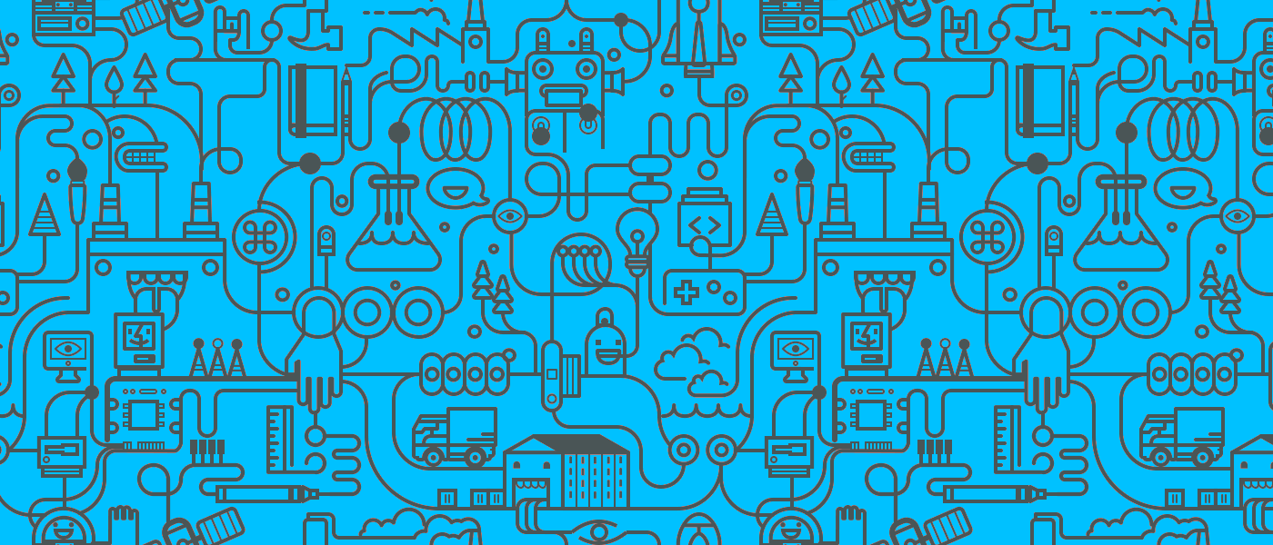 graphic image for Ikea IoT blog; science illustrations with lightbulb and various electronics