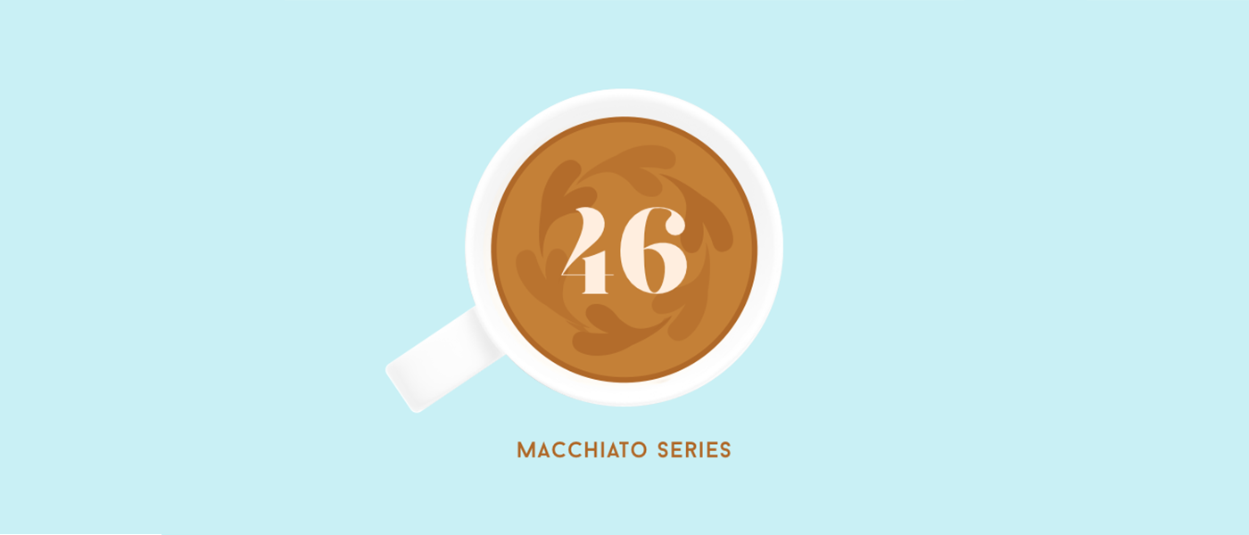 graphic design of coffee mug filled with coffee and the number 46 in the coffee