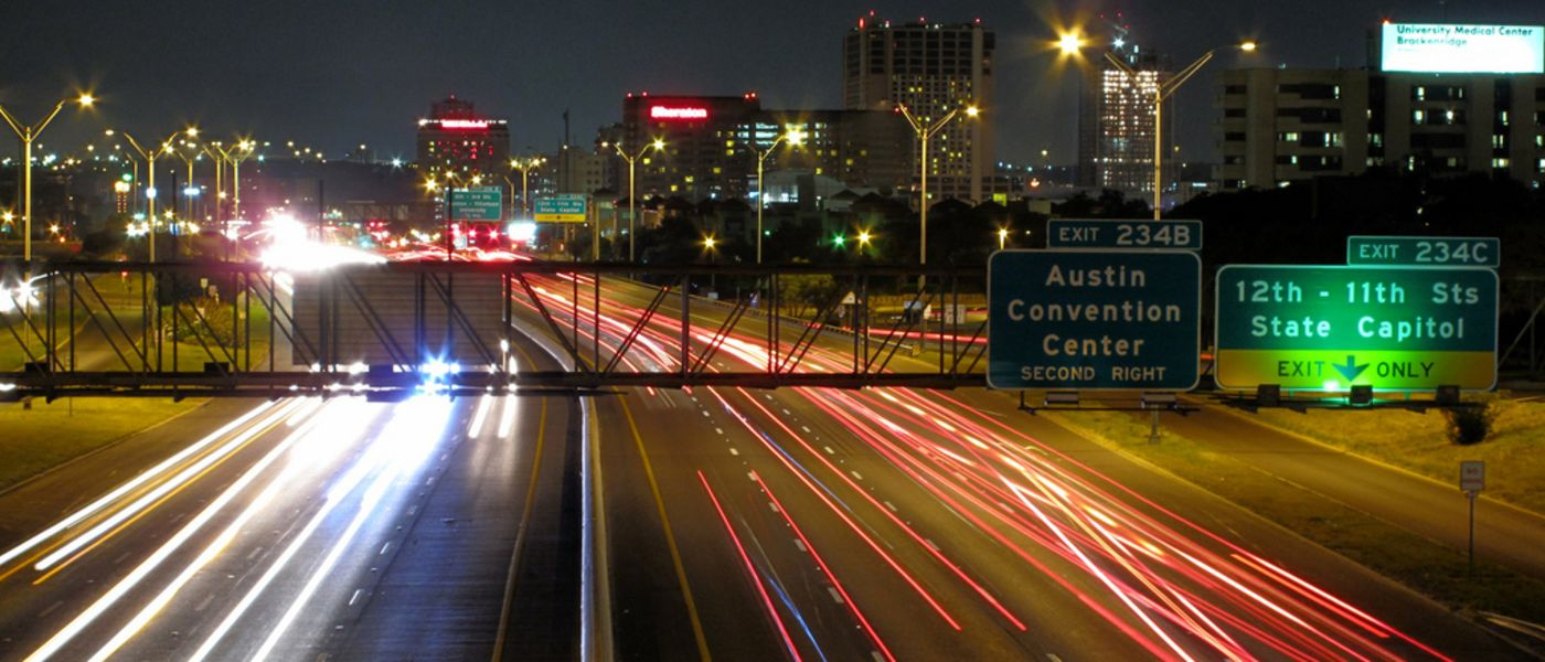 view of the freeway leading into Austin, Texas