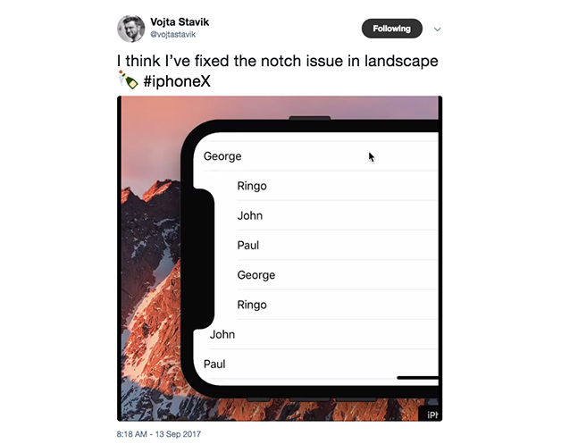 How to design for the notch in the iPhone X (10) screen