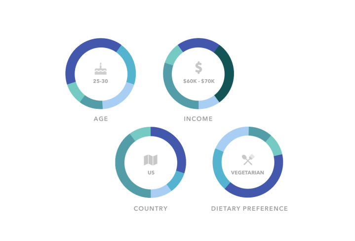 circular data visualization images of age, income, country and dietary preferences