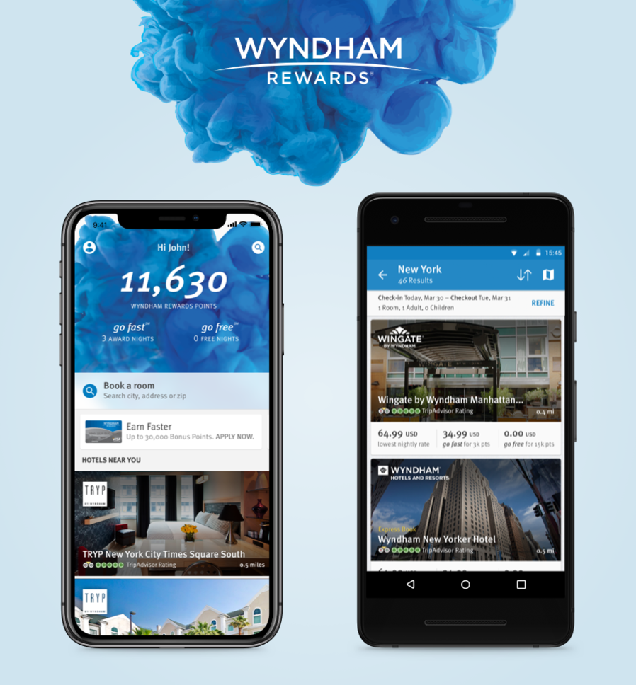 Welcome screen from Wyndham Rewards mobile app designed and developed by WillowTree