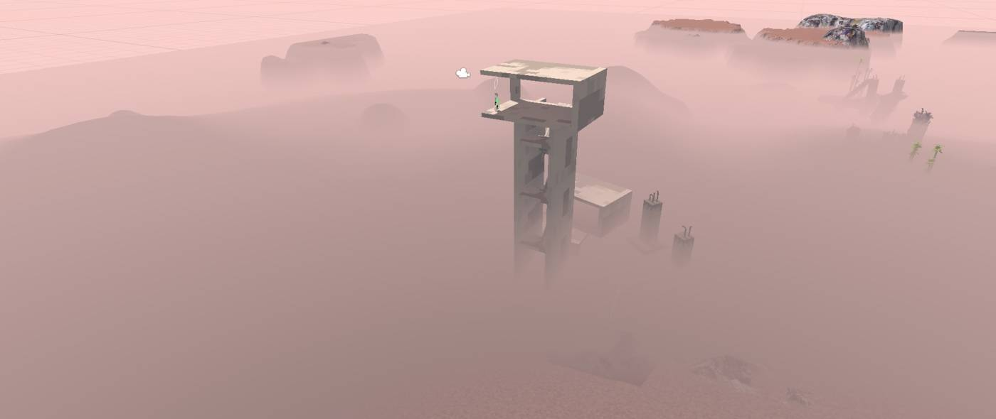 Garbage country screenshot building above mist