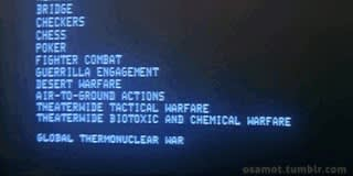Text on screen, wargames film