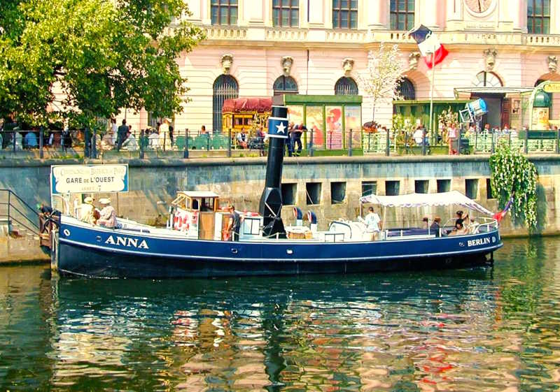 Historic rental ship Anna on the waterfront in Berlin