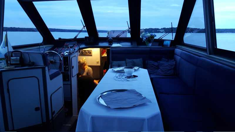 Cockpit with dining table on the Araya yacht