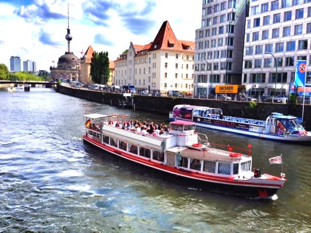 The boat Nostalgie from Berlin Bootsverleih on a tour of downtown Berlin