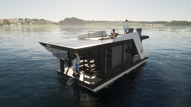 Houseboat THE 50 with a large roof terrace